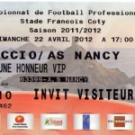 Billet Ajaccio-Nancy - Saison 2011-2012 - L1 (33e j., 22/04/2012)