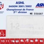 Carte d'abonnement - Saison 2001-2002