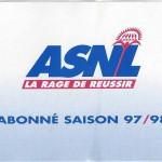 Carte d'abonnement - Saison 1997-1998