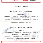 Composition 10 ans ASNL - 3eme divsion contre équipe 1967