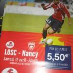 Affiche Lille Nancy saison 2007 2008 33eme journée