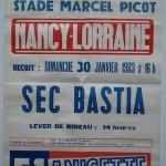 Affiche Nancy Bastia saison 1982 1983 30-01-83