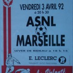 Affiche saison 1991 1992 Nancy Marseille 03 04 1992