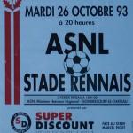 Affiche saison 1993 1994 Nancy Rennes 26 10 1993
