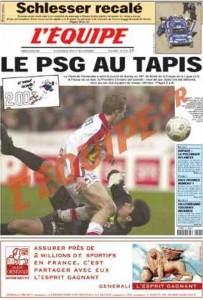 L'Équipe, 08/01/2001, « Le PSG au tapis » — L'ASNL crée la surprise en éliminant le Paris SG en 16e de finale de la Coupe de la Ligue (en couverture : Frédéric Fouret).