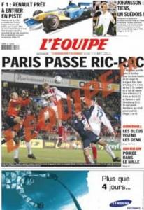 L'Équipe, 28/01/2002. En couverture, Philippe Schuth, héroïque, résiste aux assauts des attaquants parisiens, mais l'ASNL finira par s'incliner aux tirs aux buts lors de ce 1/4 de finale de la Coupe de la Ligue au Parc des Princes. Vingt et un jours plus tard, le gardien nancéien trouvait la mort dans un accident de la route.