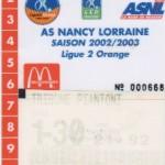 Carte d'abonnement - Saison 2002-2003