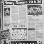Programme Nancy-Rennes - Saison 1987-1988 - D2 (3e j., 31/07/1987) - Supplément à L'Est républicain du 31/07/1987