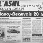 Programme Nancy-Beauvais - Saison 1987-1988 - D2 (5e j., 15/08/1987) - Supplément à L'Est républicain du 14/08/1987