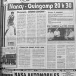 Programme Nancy-Guingamp - Saison 1987-1988 - D2 (12e j., 03/10/1987) - Supplément à L'Est républicain du 02/10/1987