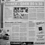 Programme Nancy-Caen - Saison 1987-1988 - D2 (18e j., 14/11/1987) - Supplément à L'Est républicain du 13/11/1987