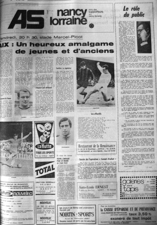Programme Nancy-Aix - Saison 23/05/1969