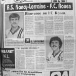 Programme Nancy-Rouen - Saison 1987-1988 - D2 (29e j., 08/04/1988) - Supplément à L'Est républicain du 08/04/1988