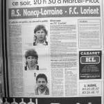 Programme Nancy-Lorient - Saison 1987-1988 - D2 (31e j., 29/04/1988) - Supplément à L'Est républicain du 29/04/1988