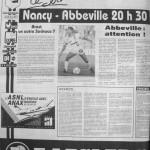Programme Nancy-Abbeville - Saison 1988-1989 - D2 (10e j., 03/09/1988) - Supplément à L'Est républicain du 03/09/1988