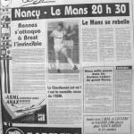Programme Nancy-Le Mans - Saison 1988-1989 - D2 (12e j., 17/09/1988) - Supplément à L'Est républicain du 17/09/1988