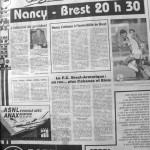 Programme Nancy-Brest - Saison 1988-1989 - D2 (14e j., 01/10/1988) - Supplément à L'Est républicain du 01/10/1988