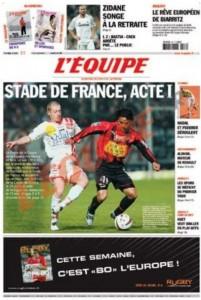 L'Équipe, 22/04/2006, « Stade de France, acte 1 ».