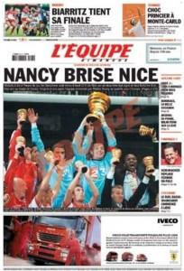 L'Équipe, 23/06/2006, « Nancy brise Nice » — En battant Nice au Stade de France (2-1), l'ASNL s'adjuge la Coupe de la Ligue.