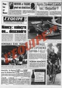 L'Équipe, 25/05/1974, « Nancy : vaincre ou… descendre » — Au matin de la dernière journée de championnat, l'enjeu semble clair : pour rester en D1, l'ASNL devra gagner face aux Lyonnais. Mais l'avenir montrera que gagner ne suffit pas toujours…