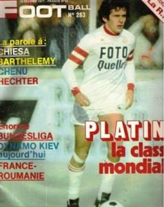 Miroir du football, n° 283, février 1977, «Platini la classe mondiale» — En couverture, Michel Platini sous le maillot nancéien.