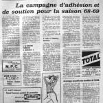 Programme Nancy-Béziers - Saison 1967-1968 - D2 (33e j., 28/06/1968) - Supplément à L'Est républicain du 27/06/1968