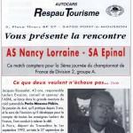 Programme Nancy-Épinal (Le Chardon rouge, n° 3) - Saison 1992-1993 - D2 (5e j., 05/09/1992)