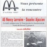 Programme Nancy-Gazélec Ajaccio (Le Chardon rouge, n° 4) - Saison 1992-1993 - D2 (7e j., 18/09/1992)