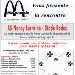 Programme Nancy-Rodez (Le Chardon rouge, n° 5) - Saison 1992-1993 - D2 (9e j., 02/10/1992)