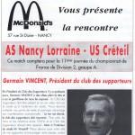 Programme Nancy-Créteil (Le Chardon rouge, n° 6) - Saison 1992-1993 - D2 (11e j., 16/10/1992)