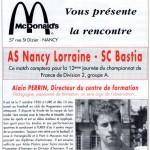 Programme Nancy-Bastia (Le Chardon rouge, n° 7) - Saison 1992-1993 - D2 (12e j., 23/10/1992)