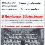 Programme Nancy-Sedan (Le Chardon rouge, n° 8) - Saison 1992-1993 - D2 (14e j., 06/11/1992)