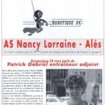 Programme Nancy-Alès  (Le Chardon rouge, n° 9) - Saison 1992-1993 - D2 (16e j., 29/11/1992)