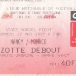 Billet Nancy-Monaco - Saison 1996-1997 - D1 (37e j., 17/05/1997)
