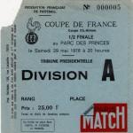 Billet Marseille-Nancy - Saison 1975-1976 - Coupe de France (1/2 finale, Parc des Princes, 29/05/1976)