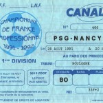 Billet Paris SG-Nancy - Saison 1991-1992 - D1 (8e j., 28/08/1991)