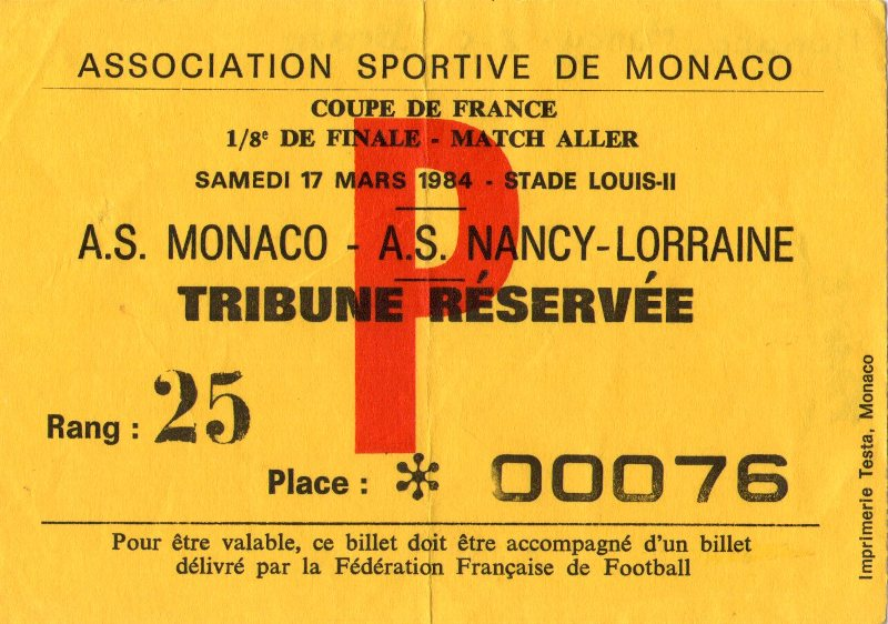 Billets des ann es 1980 - Billets finale coupe de france ...
