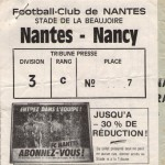 Billet Nantes-Nancy - Saison 1986-1987 - D1 (4e j., 15/08/1986)