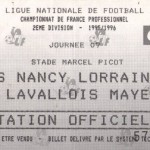 Billet Nancy-Laval - Saison 1995-1996 - 2 (9e j., 02/09/1995)