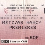 Billet Metz-Nancy - Saison 1996-1997 - D1 (6e j., 06/09/1996)
