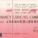 Billet Nancy-Cannes - Saison 1996-1997 - D1 (1re j., 10/08/1996)