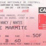 Billet Nancy-Nantes - Saison 1996-1997 - D1 (35e j., 30/04/1997)