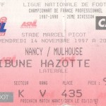 Billet Nancy-Mulhouse - Saison 1997-1998 - D2 (20e j., 14/11/1997)