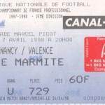Billet Nancy-Valence - Saison 1997-1998 - D2 (37e j., 07/04/1998)
