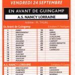 Programme Guingamp-Nancy - Saison  2004-2005 - L2 (10e j., 24/09/2004)