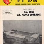 Programme Lens-Nancy - Saison 1982-1983 - D1 (1re j., 10/08/1982)