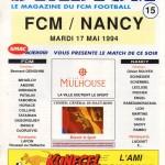 Programme Mulhouse-Nancy - Saison 1993-1994 - D2 (40e j., 17/05/1994)
