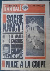 France football n° 1346, 18/01/1972. Antoine Kuszowski sous le maillot nancéien.