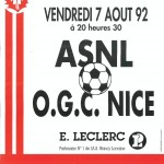 Affiche Nancy-Nice - Saison 1992-1993 - D2 (1re j., 07/08/1992)