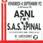 Affiche Nancy-Epinal saison 92/93